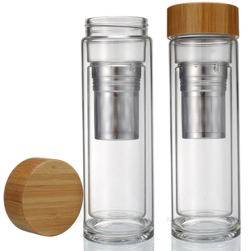 Pyrex Glass Water Bottle Double Layer With Infuser